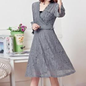 韩版流行女装中长款裙子蕾丝连衣裙大码夏2017新款