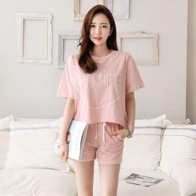 2017夏装女式韩版显瘦修身运动短袖短裤两件套