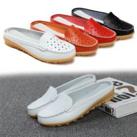 新款真皮包头拖鞋女孕妇防滑平底鞋懒人鞋半拖鞋夏季镂