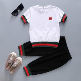 夏季新款纯棉螺纹童装男童套装中大儿童短袖两件套潮