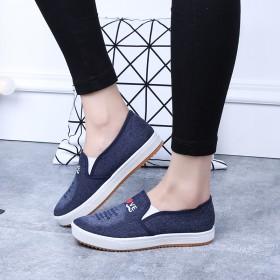 2017春季新款女学生鞋休闲鞋牛仔布女鞋韩版牛筋底