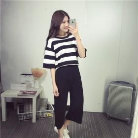 夏季新款女士休闲黑白条纹T恤阔腿裤套装