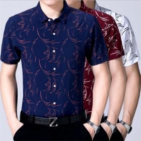 薄款中青年男士商务休闲丝光棉宽松短袖衬衫
