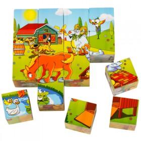 16粒立体积木质3D六面画拼板儿童拼图玩具
