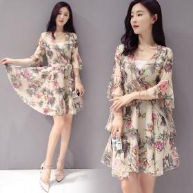 【亏一天】时尚印花连衣裙