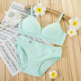 夏季纯棉无痕无钢圈少女文胸套装聚拢性感薄款内衣