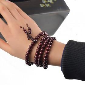 酸枝小叶紫檀佛珠手链 6-8MM108颗酸枝紫檀