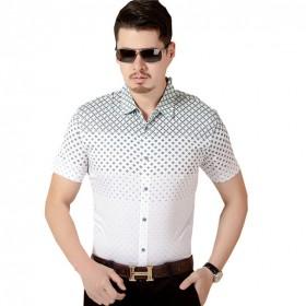 格子衬衫男短袖夏季大码休闲纯棉上衣韩版青年百搭衬衣