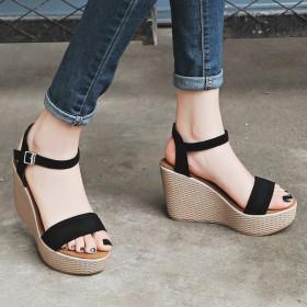 高跟凉鞋女鞋2017夏季新款韩版坡跟一字带松糕鞋