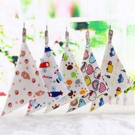 五条装宝宝口水巾婴儿纯棉加厚双层按扣三角巾