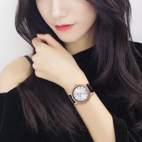 时尚手表女2017新款潮品牌手表女黑色皮带韩版