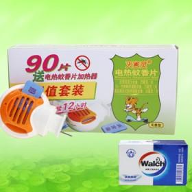 凯达灭害灵电热蚊香片无味型驱蚊防蚊90片送香皂