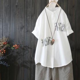 棉麻复古文艺白衬衫女上衣文艺宽松