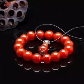 红火红玛瑙单圈12mm手链项链吊坠套装_女饰品礼物