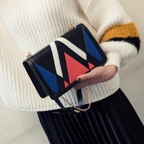 单肩包女新款包包几何撞色拼色斜挎包小包包韩版时尚包