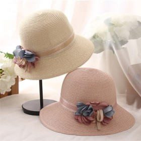 夏季新款遮阳帽女防晒花朵甜美可爱渔夫帽
