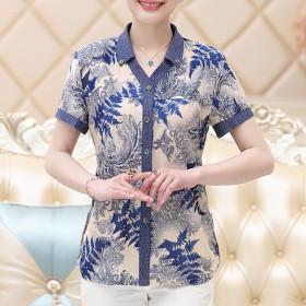 妈妈装夏装真丝短袖衬衫