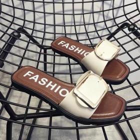 女鞋时尚金属扣平跟平底防滑女拖鞋