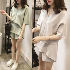韩版学生时尚套装宽松显瘦短袖雪纺衫阔腿短裤两件套