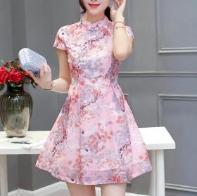 夏季流行女装高腰A字裙2017新款女旗袍连衣裙短裙