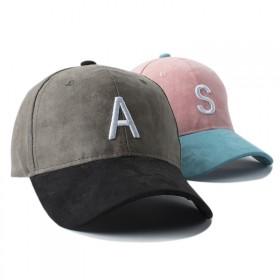 韩版男女士棒球帽麂皮绒字母帽子刺绣拼色情侣鸭舌棒球