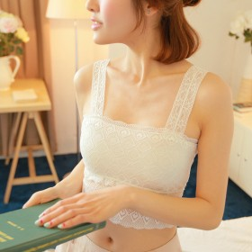 新款莫代尔学生运动文胸蕾丝吊带花边精致舒适少女抹胸