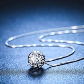 s925纯银项链女魔方锆石水晶吊坠锁骨链女士日饰品