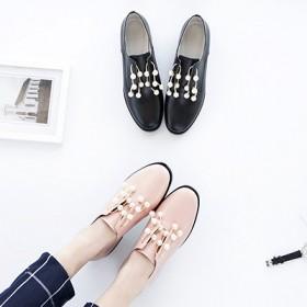 新款珍珠头层牛皮鞋女真皮内里平底单鞋