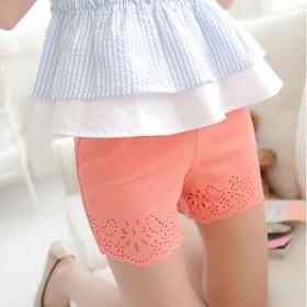 夏季新款粉色薄款大码打韩国烧花镂空三分裤防走光外穿