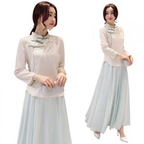 中国式复古立领旗袍盘扣唐装绣花上衣大摆中腰半身裙两