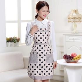 双层防水围裙时尚可爱厨房工作服围腰成人罩衣