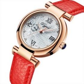 女士手表防水时尚款真皮表带石英表简约休闲腕表