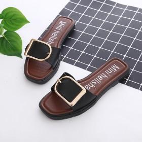 韩版一字拖平底拖鞋 夏季女士沙滩拖防滑室外方扣凉拖