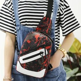 新款单肩斜挎背包胸包女包撞色背包潮休闲旅行包迷彩花