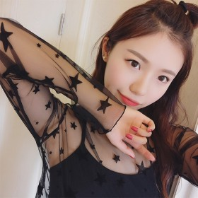 2017春夏新款女装蕾丝衫网纱透视长袖性感内搭打底