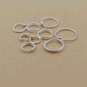 99足银小耳圈纯银耳骨圈光面银耳环饰品迷你防过敏