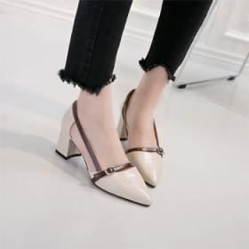 新款尖头粗跟女鞋 包头中跟凉鞋单鞋