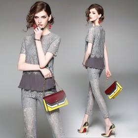 【包邮】 蕾丝套装女百褶T恤 九分小脚裤 两件套