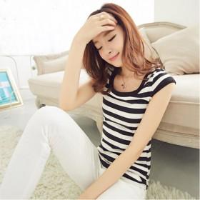 新款女装时尚 T恤女短袖韩版修身显瘦打底条纹背心