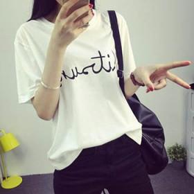 夏季韩版印花短袖T恤衫大码宽松显瘦纯棉上衣打底衫