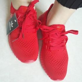 飞织鞋女透气跑步鞋