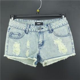 低腰修身显瘦破洞毛边短牛仔裤休闲女裤薄款阔腿裤