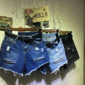 夏季韩版高腰阔腿热裤女新款学院风毛边破洞短裤