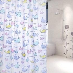 超低价浴室防水鲸鱼花纹浴帘卫生间洗澡隔断帘