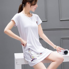 短袖t恤女春夏新款韩版时尚修身百搭圆领中长款