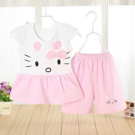 夏季女小童套装短袖纯棉女童裙两件套儿童裙短裤公主裙