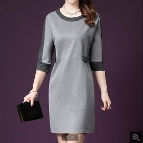 新款韩版女装短袖撞色套头中长款连衣裙2017春夏
