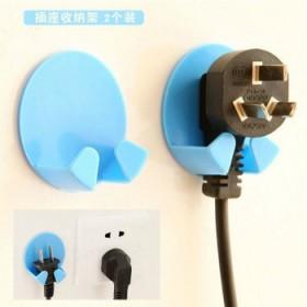 6个无痕粘贴式电源插头挂钩插座支架2枚装(3对)