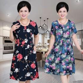 中老年人女装夏季新品棉绸短袖连衣裙妈妈装大码印花裙