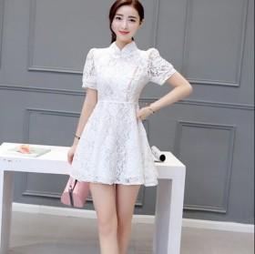 新款韩版女装短袖蕾丝A字裙旗袍连衣裙2017春夏